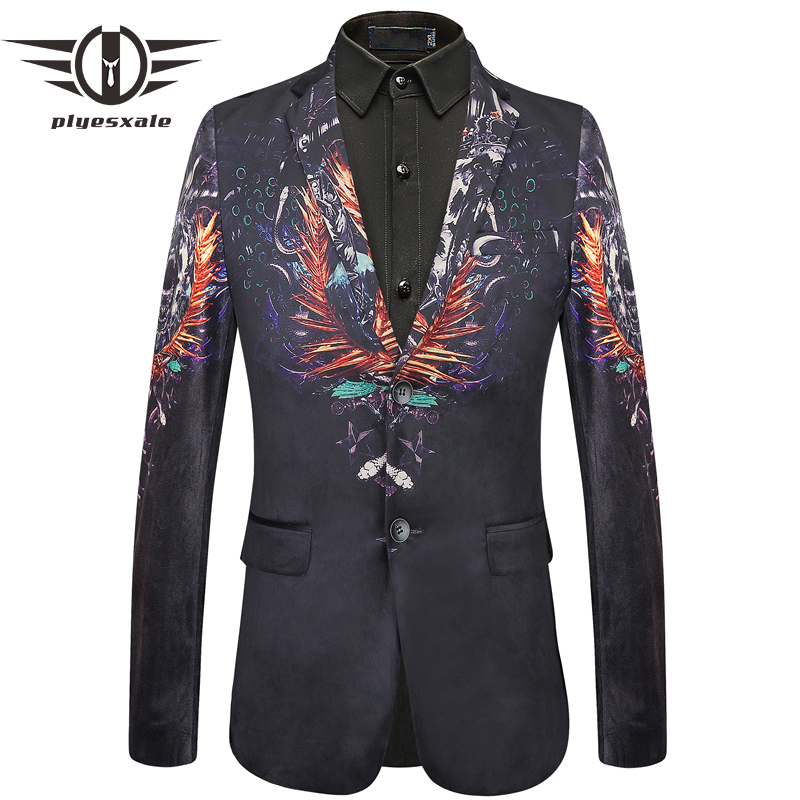 Plyesxale Hot Blazers For Men New Autumn High Quality Mens Slim Fit Blazer Tiger Printed Blazer Hombre Casual Suit Jacket Q443-in Blazers from Men's Clothing    1