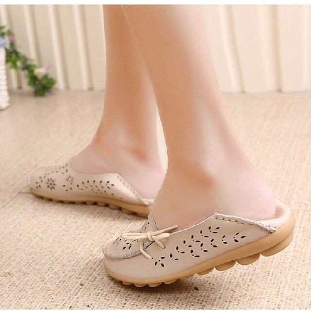 Kuidfar mujeres pisos nuevos mocasines mujeres Cuero auténtico Zapatos madre loafes suave Zapatos mujer Soft sole Ballet pisos