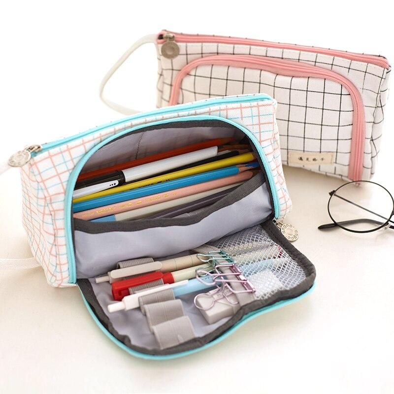 Precioso lápiz Kawaii gran capacidad escuela lápiz Portátil Bolsa lápices bolsa caja de la pluma papelería estudiante
