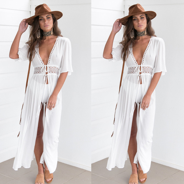 Sundress Summer Boho Style American Cardigan White Summer Dresses