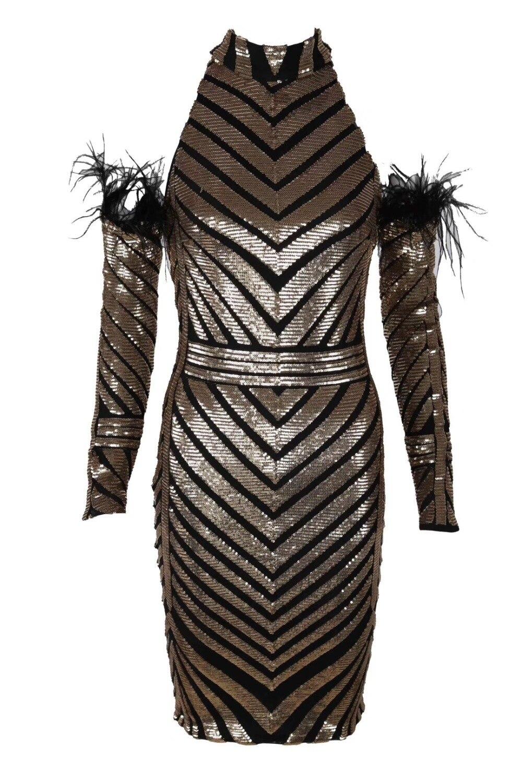 Robe Mode D'anniversaire Sexy cou Bandage Dos Paillettes Nu Con O Fête Celebrity Plein Spéciale Corps Noir Pub Robes Femmes Gros En Offre pfqFS7w
