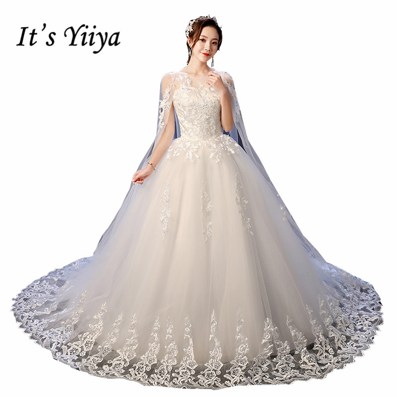 It's YiiYa Wedding Dress O-neck Fake Shawl Wedding Dresses Sleeveless Embroidery Full Lace Sweep Train White Bridal Gowns XXN237