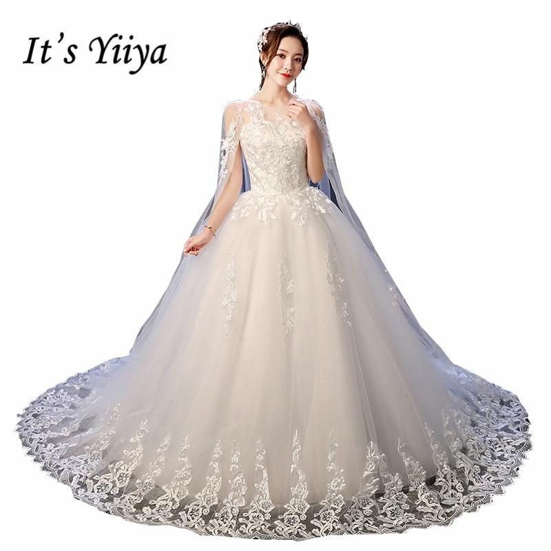 It's YiiYa Wedding Dress O-neck Fake Shawl Wedding Dresses Sleeveless Embroidery Full Lace Sweep Train White Bridal Gowns XXN237