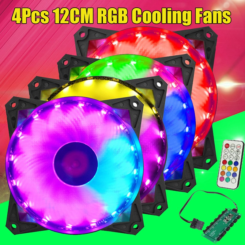 Leory 4 Pcs RGB 12cm 12V ABS LED Colorful Lighting Cooling Cool Fans For Computer CPU for ATX PC Case With Remove Control 5 pcs qdzh35g r134a 12v cooling compressor for marine refrigeration unit
