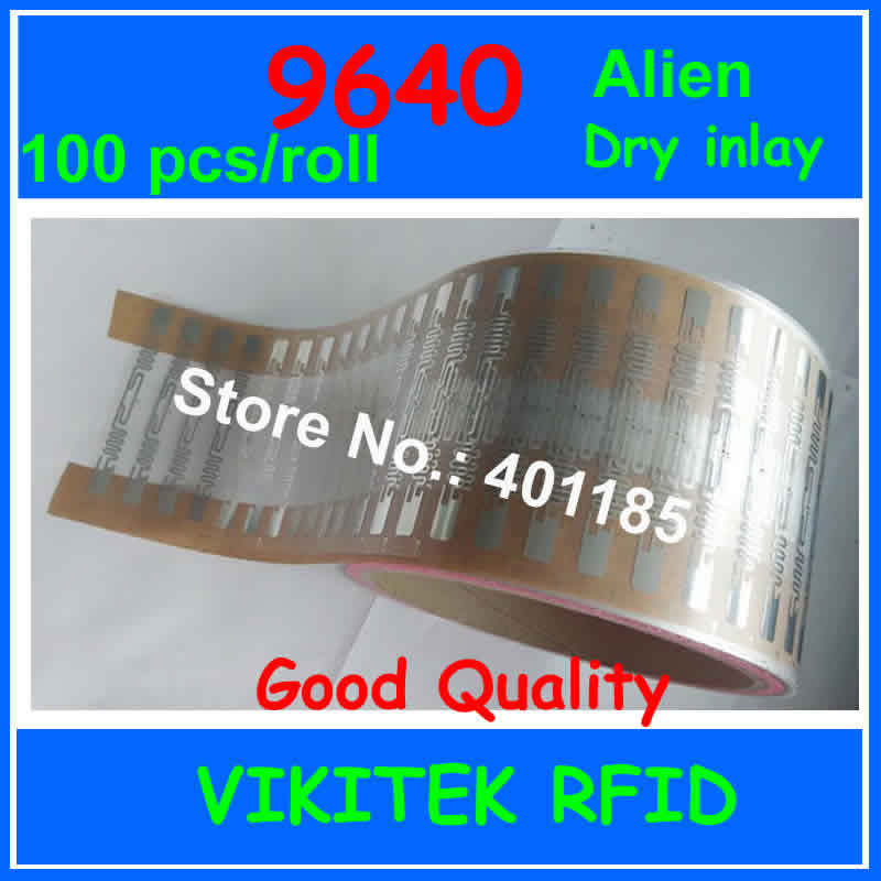 Alien authoried 9640 100pcs per roll UHF RFID dry inlay 860-960MHZ Higgs3 EPC C1G2 ISO18000-6C used for RFID tag and label uhf rfid passive tags alien 9629 dry inlay 860 960mhz higgs3 epc c1g2 iso18000 6c can be used to rfid tag label 100pcs per roll