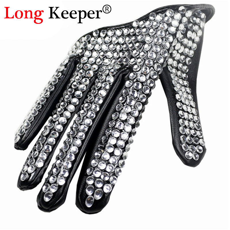 Ladies' Fingerless Gloves for Dancing Show Women Men Hip-hop Rhinestone Diy Dancing Gloves Black & White Half Palm Luvas M140