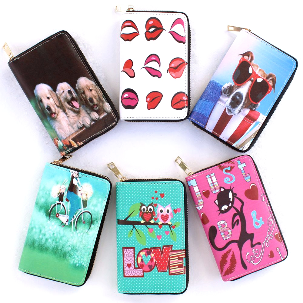 New fashion Cat print wallet,Girl Clutch purse,Women coin wallet card holder Students Kid wallet Ladies change purse zero wallet