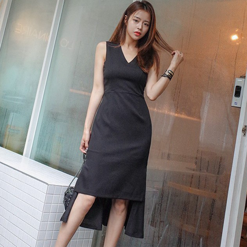 Mingjiebihuo korean new OL office fashion ruffle dress summer sexy  sleeveless slim v neck solid elegant work style party dress-in Dresses from  Women s ... 2d570020cccb
