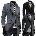 2016 new autumn and winter fashion Korean double-breasted design boutique men's long paragraph Slim woolen coat jacket