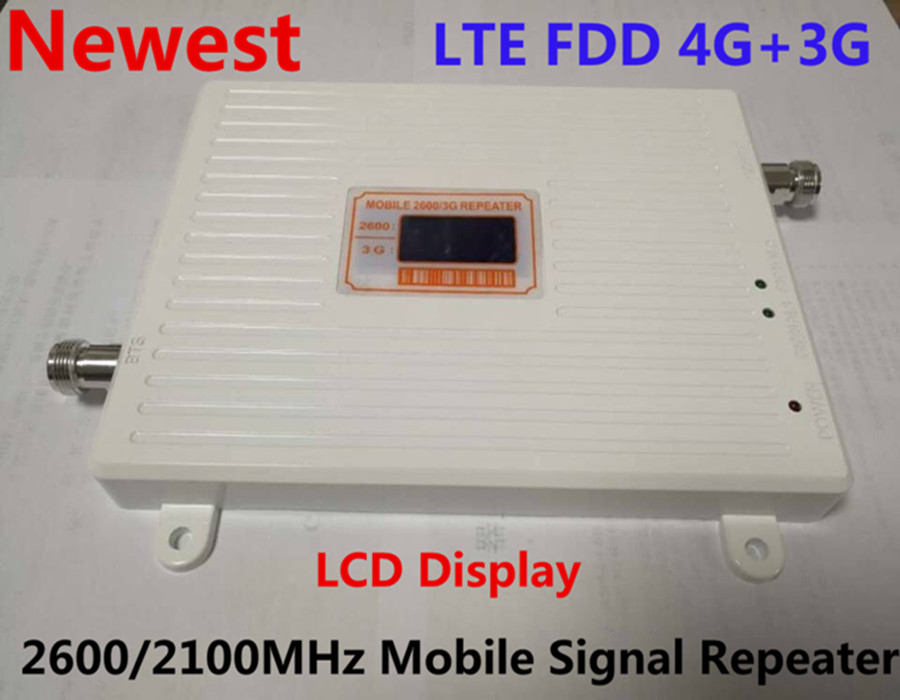 Dual Band 3g 4g Mobile Phone Signal Booster LCD Display 4G FDD LTE 2600MHz 3G W-CDMA UMTS 2100MHz Signal Repeater with 12v Power