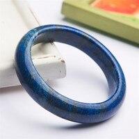 Натуральный темно синий украшения из лазурита камень женский очаровательный браслет внутренний диаметр 61 мм