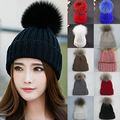 NEW Fashion Women Warm Wool Knitted Raccoon Fur Pom Beanie Bobble Hat Cap Hot Sales