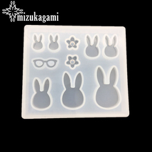 1pcs UV Resin Jewelry Liquid Silicone Mold Rabbit Glasses Resin Charms Pendant Molds For DIY Intersperse Decorate Making Jewelry