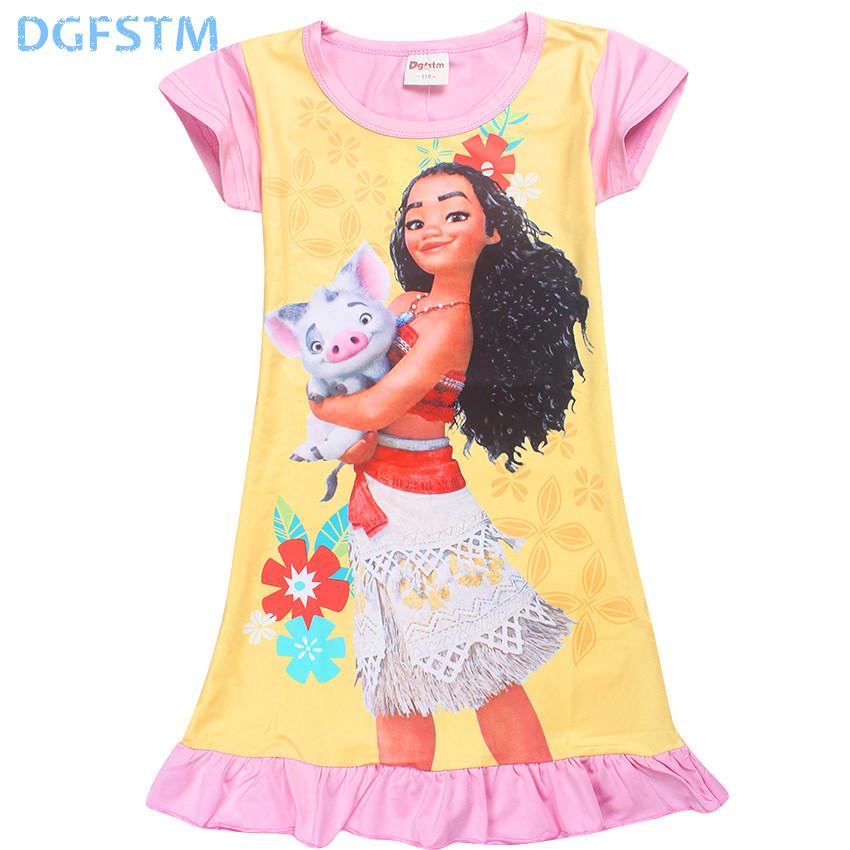 2017 Summer Moana Dresses for Girls Princess Birthday Party Dress Children Elsa Anna trolls Costume Kids Clothes Vestido vaiana (2)