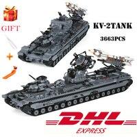 KV 2 тяжелый танк колесница Legoed строительные блоки игрушки военный солдат пушки ракета Assemable Кирпичи Модель игрушка для обучения подарки