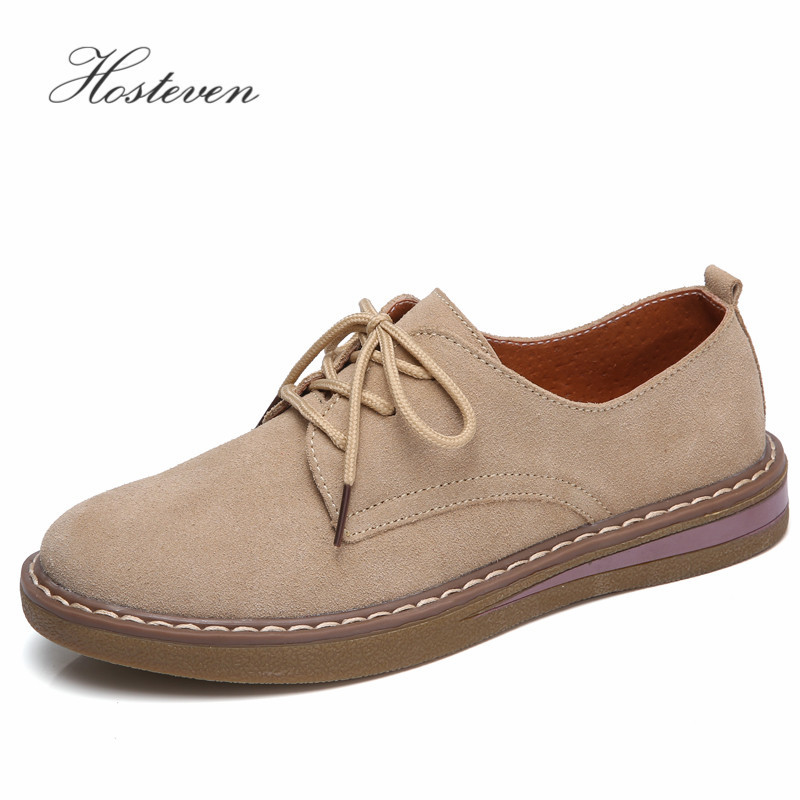 Hosteven Women's Shoes Genuine Leather Oxford Mother Girls Lace Up Fashion Casual Shoes Women Sneakers Flats Moccasins Shoes