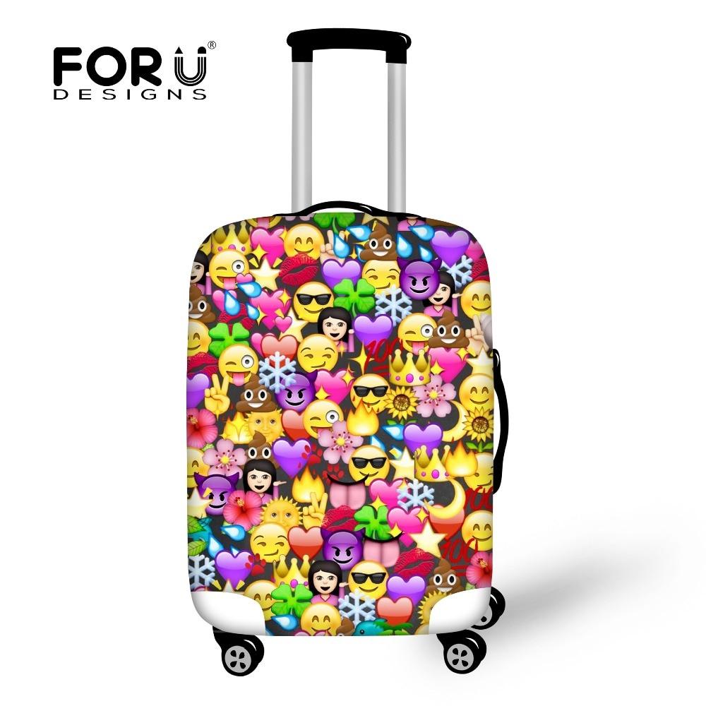 FORUDESIGNS Funny Emoji Schutzhüllen für Koffer Reisegepäckhülle Elastic Stretch bis 18 '' - 30 '' Case Landscape Covers