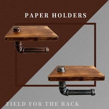Wall Mount Wood Paper Towel Holders For Bathroom Iron Mobile Phone Holder Toilet Paper Storage Retro WC Roll Rack Kitchen Shelf