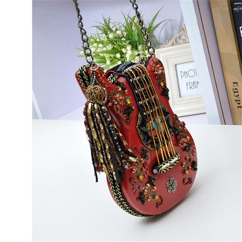 Nouveau sac à main fait main guitare modélisation paquet rétro perlé chaîne paquet épaule diagonale paquet