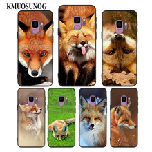 For Samsung Galaxy Note 9 8 S9 S8 Plus S7 S6 Edge S5 Mini Black Soft Silicone Phone Case lovely Animal Fox Style