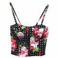Atacado Sexy Zipper Floral Do Vintage Acolchoado Bustier Cropped Tops Zipper Tanque Sutiã Top Colheita Cami Bikini