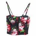 Comercio al por mayor Sexy Cremallera Floral Vintage Acolchado Bustier Recortada Tops Cremallera Bra Crop Top Cami Tanque Bikini