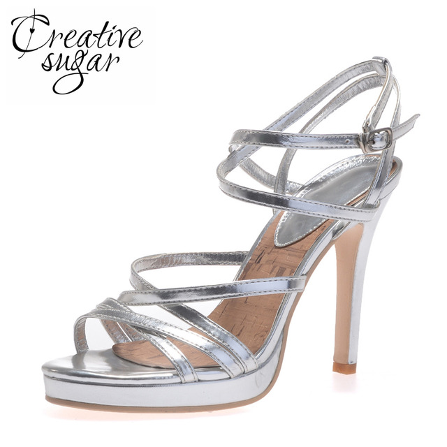 Creativesugar metallic silver gold narrow strappy lady sandals ankle strap platform high heels party cocktail summer dress shoes
