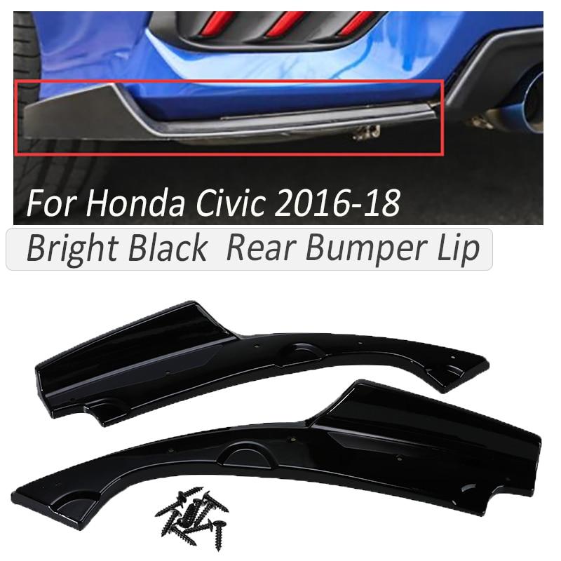 1 Pair Bright Black Anti Scratch Car Rear Bumper Lip For Honda Civic Diffuser Splitters Aprons Spoiler Body Protect Kit 2016-18