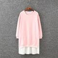 4xl плюс большой размер женщин одежда 2017 весна осень зима корейских vestidos ложные две части цветочный стежка dress женский