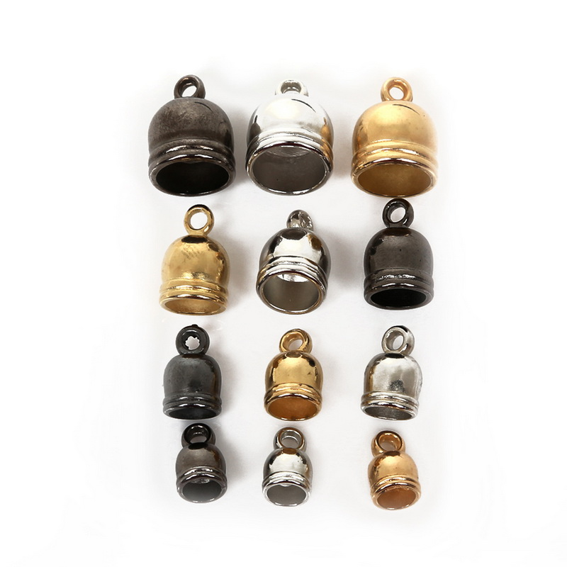 50pcs/lot End Tip Tassel Caps Round Cord Crimps Beads Cap End Caps For Jewelry Making DIY Findings(China)