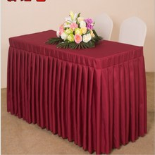 Marious Hot Sale 16ft*29'' Solid color 5pcs Polyester Table Skirt wedding Conference Office Table skirting Event Free Shipping