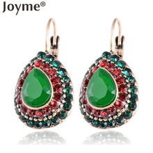 Indian Jewelry Vintage Accessories Gold-Color Earring Female Clip Black Pendant Green Red Crystal Earrings Brincos