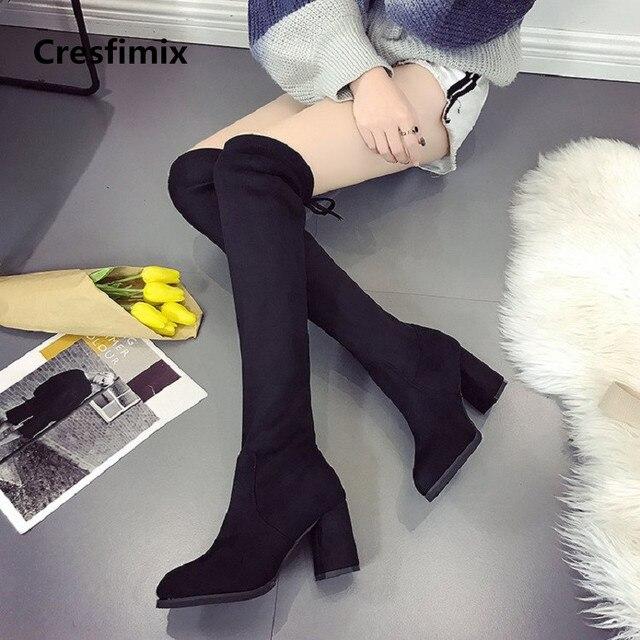 Cresfimix botas femininas mujeres moda alta calidad 7 cm tacón alto  deslizamiento en botas de señora eb19d227100c