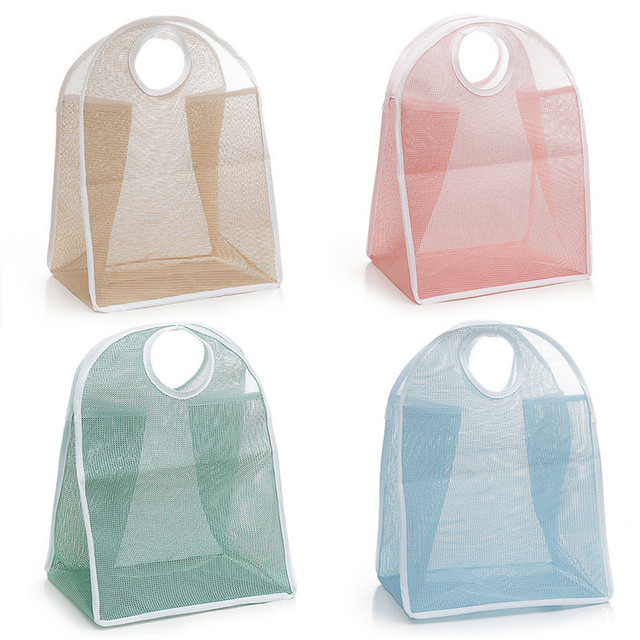 Home Daily Portable Nylon Mesh Storage Basket For Dirty Clothes With  Folding Handles Clothes Storage Basket