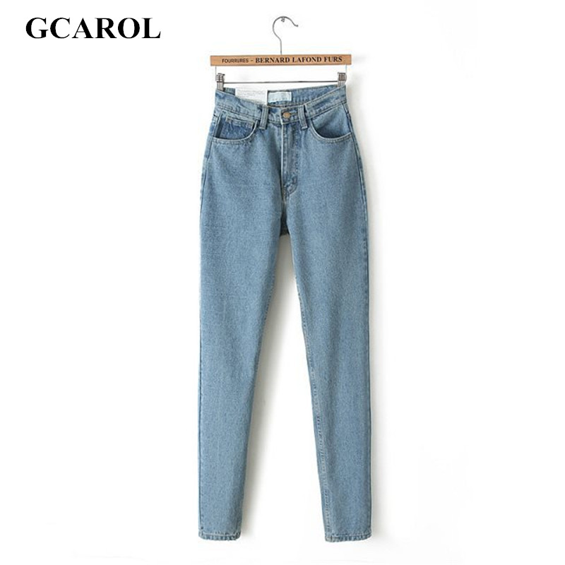 GCAROL Euro estilo clásico de cintura alta Denim Jeans Vintage Slim estilo Jeans lápiz de alta calidad Denim Pantalones para 4 temporada