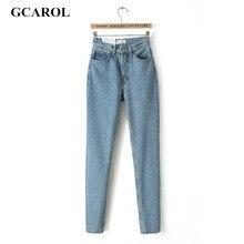 GCAROL Women High Waist Denim Jeans Slim Casual Vintage Pencil Jeans High Quality Denim Pants Plus Size 29 For 4 Season