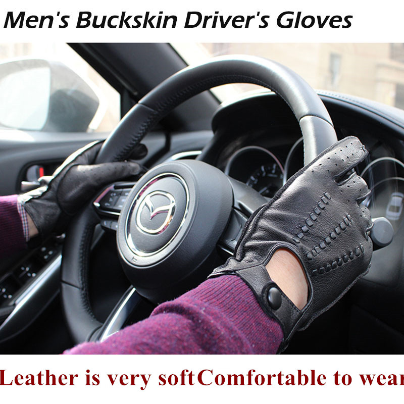Efficient Buckskin Gloves Mens Unline Single Layer Thin Style Hollow Breathable Driving Riding Repair Leather Driver Gloves Free Shipping Non-Ironing Back To Search Resultsapparel Accessories