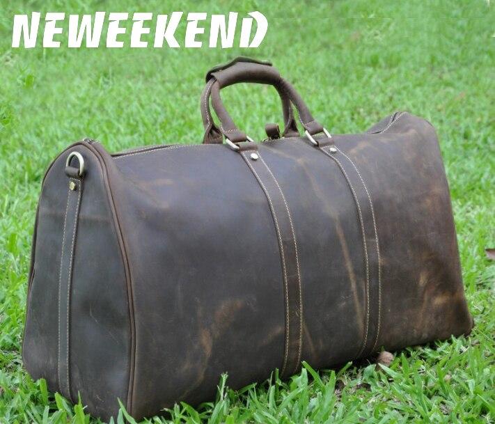 NEWEEKEND 9551 Vintage Genuine Leather Cowhide Zipper Soft Large Capacity Laptop Pocket Handbag Travel Luggage Bag
