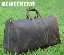 цена на Free shipping  vintage style men genuine leather large luggage duffle gym bag shoulder tote handbag travel bag 9551