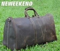 NEWEEKEND 9551 Vintage Genuine Leather Cowhide Zipper Soft Large Capacity Laptop Pocket Handbag Travel Luggage Bag for Man