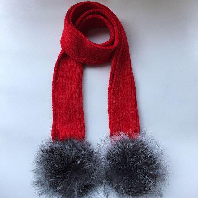 20e429358f8 ROYAUME-UNI Crochet Enfants Écharpe avec argent renard laine pompon Tricoté  Fourrure d hiver