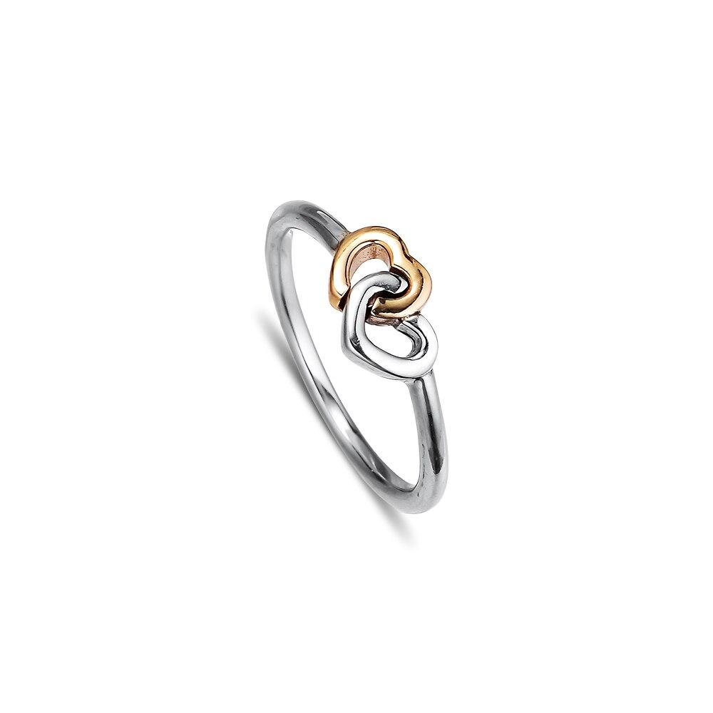 Asli Sterling-Perak-Perhiasan Hati ke Hati Cincin dengan 14 K Emas - Perhiasan bagus