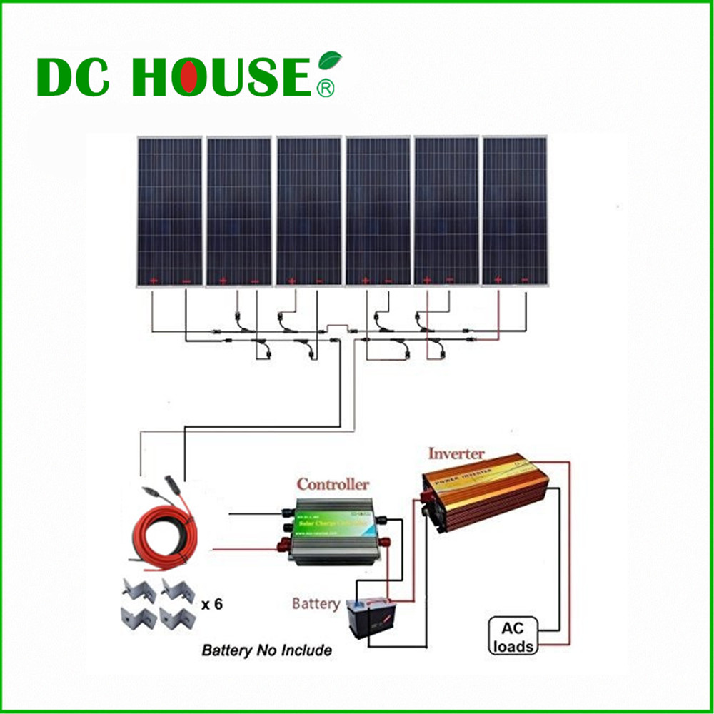 USA Stock 6x150W Photovoltaic Solar Panel 900W 12V off Grid Solar System w/ 1500W 110V Inverter for Household Use dc house usa uk stock 300w off grid solar system kits new 100w solar module 12v home 20a controller 1000w inverter