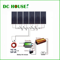 USA Stock 6x150W Photovoltaic Solar Panel 900W 12V off Grid Solar System w/ 1500W 110V Inverter for Household Use