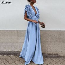 Xnxee 2018 New Fashion Women Dress Sexy Deep V Neck Backless Ruffles Sleeveless Maxi Summer Solid Beach Party Long