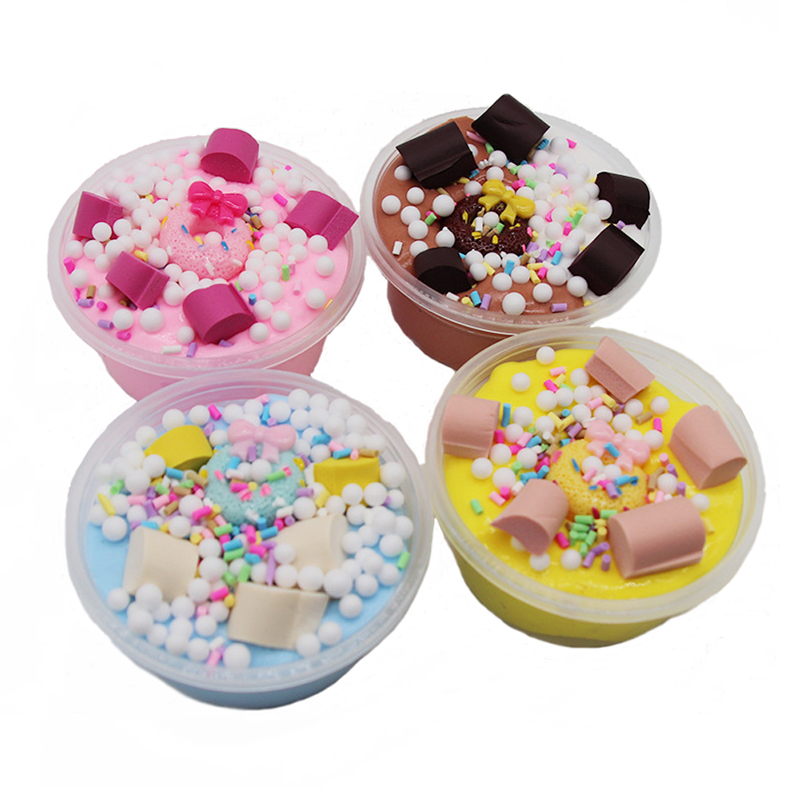 Donut Cotton Candy Mud Slime Toys Butter Mud Slime DIY Hand Craft Toy Accessories Release Stress Relax Toy For Kids Gift