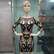 ChinFun embroidery bodycon women dress  hot selling in the USA market with half sleeves bandage dress  DM791