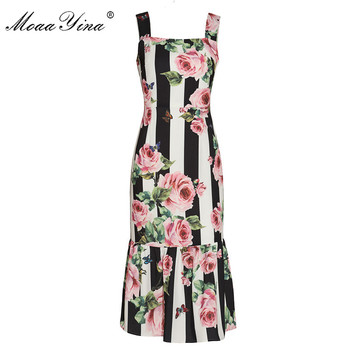 цена на MoaaYina 2018 Runway Sexy Spaghetti Strap Dress Women's Charming Stripe Rose Floral Print Slim Package Buttocks Mermaid Dresses