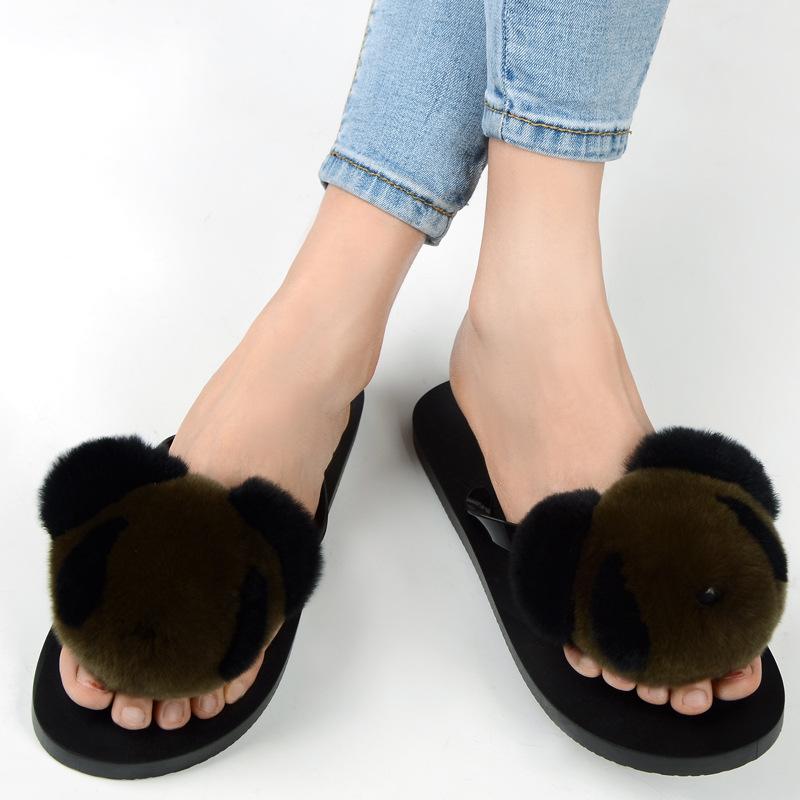 slipper real fur pompom (2)