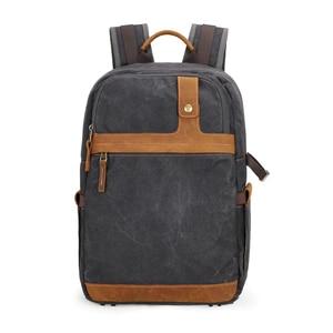 Image 1 - Waterproof Batik Canvas+Leather Shoulders Protect Bag Professional Photographic Camera Backpack for SLR Camera Lens Tripod Flash